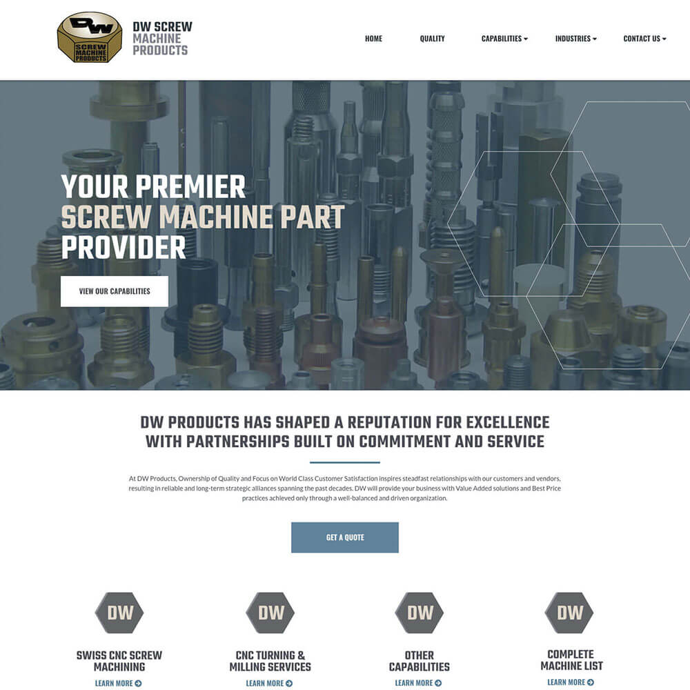 DW Screw Products Website Design